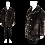Vintage 1970s Rare Mens Faux Fur Coat Astraka Astraman 70s Fake Fur Jacket Warm Winter ...