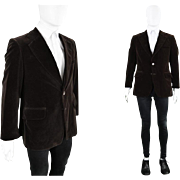 Vintage 1970s Mens Brown Velvet Blazer Wide Lapels Formal Dinner Jacket 70s Slim Fit Blazer