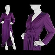 Vintage 1970s Irvine Sellars Slinky Purple Crepe Evening Wrap Dress 70s Carnaby Street Disco .