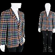 Vintage 1980s Givenchy Mens Linen Blazer Checked Tartan Plaid Print Jacket 80s French Designer