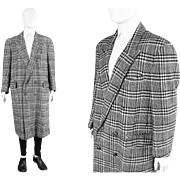 Vintage 1980s Cacharel Oversized Mens Wool Coat Black & White Houndstooth Prince of Wales Chec