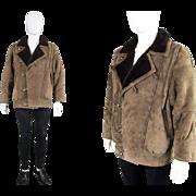Vintage 1970s Mens Sheepskin Coat 70s Oversized Aviator Batwing Bomber Jacket by Philip ...