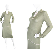 Vintage 1970s Christian Dior Two Piece Skirt Suit 70s Green Jumper Sweater Designer Logo Made