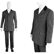 Vintage 1980s Gianni Versace Mens Tweed Suit Faux Astrakhan Collar Designer Two 2 Piece Jacket