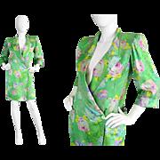 Vintage 1980s Emanuel Ungaro Parallele Paris Green Silk Floral Jacket Edgy Wide 80s Shoulder .