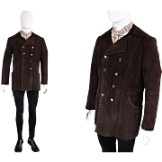 Vintage 1960s Lord John of Carnaby Street Mens Dark Brown Suede Jacket 60s Double Breasted ...