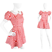 Vintage 1970s Red & White Gingham Mini Dress & Shorts Set Simon Ellis 70s Picnic Checked Puff
