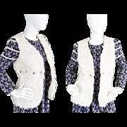Vintage 1970s Faux Fur Sleeveless Jacket Womens 70s Boho Hippie Gilet Shaggy Fake Fur ...