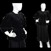Vintage 1980s Emanuel Ungaro Black Velvet Gothic Peplum Jacket Film Noir Style Pleated Puff ..