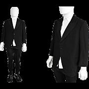 Vintage 1930s Mens Black Wool Dinner Evening Jacket Peaked Grosgrain Lapels 30s Art Deco Tuxed