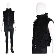 Vintage 1990s Dexter Wong Mens Black Shaggy Faux Fur Sleeveless Jacket 90s Designer Rave Wear
