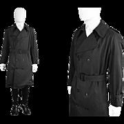 Vintage 1980s Christian Dior Men's Dark Charcoal Grey Black Trenchcoat 80s Designer Rain ...