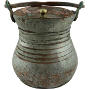SALE Hand wrought Anatolian Copper Bucket for Yoghurt Preservation