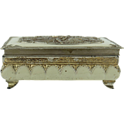 SALE Exquisite Antique Jewelry Box with Chic Figures Engraving