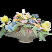 An Italian Glass Floral Centerpiece Lamp