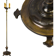Vintage Brass and Mixed Metal Floor Lamp with Fleur de Lis Pad Feet