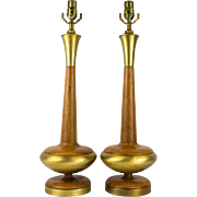 SALE Mid Century Modern Walnut and Brass Table Lamps