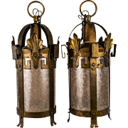 Pair, 1920's American Iron and Mica Lanterns