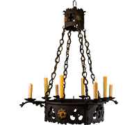 SALE 1920's 8 Light French Wrought Iron Gothic Tudor Chandelier