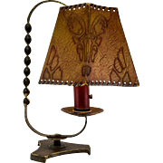 1920's French Wrought Iron Table Lamp with Decorative Shade