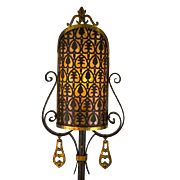SALE American 1920's Wrought Iron Floor Lamp with Pierced Brass & Mica Shield Shade and ...