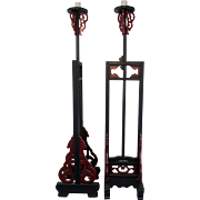 Early 20th Century Adjustable Black & Red Lacquer Asian Form Floor Lamps