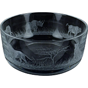 Queen Lace Crystal Large Round Bowl with Five Animal Motif:  Copper Wheel Engraving:  Elephant