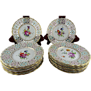 Twelve Meissen Dresden Reticulated Pierced Small Hand Painted Floral Plates