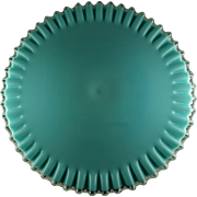 Rare Fenton Turquoise Silvercrest Footed Cake Stand Cake Plate - Great Condition - Lovely Colo