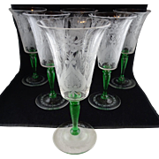 Set Of Six Steuben Glass Van Dyke Water Goblets - Engraved Pattern with Pomona Green Stems ...