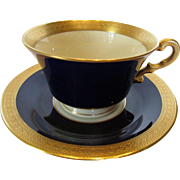 Vintage Cobalt Blue and Striking Embossed Gold Bordered Cup and Saucer