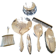 Solid Sterling 7 piece Dressing Table Set ~ Art Deco Style ~ c. 1935 ~ ...