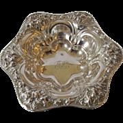 Sterling Antique Repousse Design Bonbon or Dressing Table Dish - c 1910