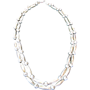 Native American Sterling Silver Double Strand Seed and Round Bead Necklace
