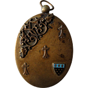 French Art Nouveau sliding mirror pendant with enameled shield