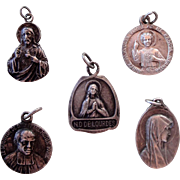 Lot of 5 French religious medals from 1920's (Bernadette, Therese...)