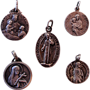 Lot of 5 French religious medals from 1920's (Odile, Rita...)