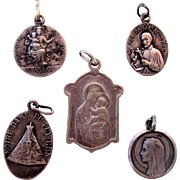 Lot of 5 French religious medals from 1920's (Bernadette, Regis...)