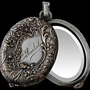 French Art Nouveau sliding mirror pendant (souvenir from La Bourboule) c1910-1920