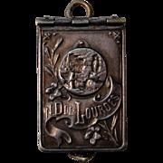 Tiny French Religious souvenir pendant Notre Dame de Lourdes c.1910