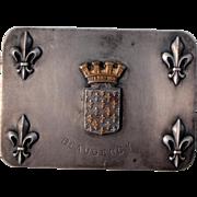 Antique French Fleur de Lys Stamp Case / Box Double Compartment c1910