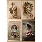 Lot of 4 Vintage French Postcards early 1900's Hand Tinted, Stamps (#1)
