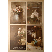 Lot of 4 Vintage French Postcards early 1900's Hand Tinted (#2)