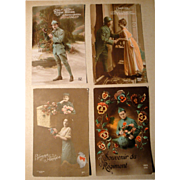 Lot of 4 Vintage French Postcards early 1900's Hand Tinted (#3)