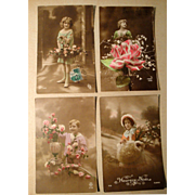 Lot of 4 Vintage French Postcards early 1900's Hand Tinted, Stamps (#5)