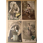 Lot of 4 Vintage French Postcards early 1900's Hand Tinted, Stamps (#6)