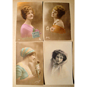 Lot of 4 Vintage French Postcards early 1900's Hand Tinted, Stamps (#8)