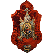 Rare Large Antique French Champleve Enamel Hand Painted Porcelain Red Velvet Holy Water Font .