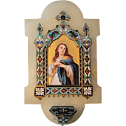 Large Antique French Champleve Enamel Hand Painted Porcelain Mary Magdalene Holy Water Font ..