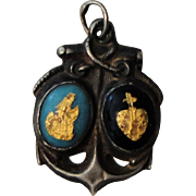Antique French Sterling Silver Enameled Religious Pendant (Anchor, Sacred Heart) c1890